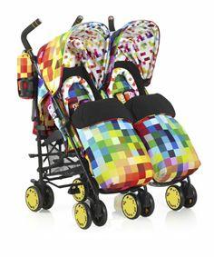 Cosatto Supa Dupa Twin Stroller & Accessories - Pixelate