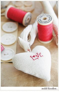 Heart ornament with embroidery #goodhousekeeping #createyourcomfy