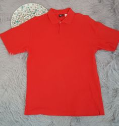 Neiman Marcus Mens Shirt Size Medium Red Uniform Polo Textured Short Sleeve o762 #NeimanMarcus #PoloRugby
