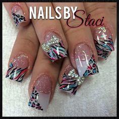 Fun zebra acrylic nails