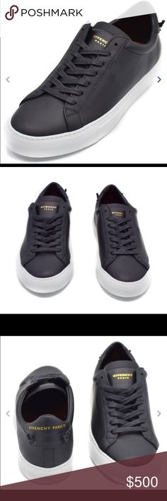 Givenchy Womens Urban Street Knot Leather Sneakers Givenchy Womens Urban Street Knots Leather Low-Top Sneakers Size 38 / 8  Low-top buffed calfskin sneakers in black. Round toe. Tonal lace-up closure. Logo stamp in gold-tone at padded tongue. Padded collar. Logo stamp in gold-tone and signature knot accents at heel tab. Rubber sole in white. Tonal stitching. Upper: calfskin. Sole: rubber. Made in Italy. Contact us for different sizes available call us at 212-287-0107 Givenchy Shoes Sneakers