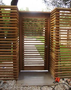 Out of all the cedar fence gate designs out there, this gorgeous, rustic wooden fence is the perfect touch as an entranceway to the garden! Fence gate ideas and design. Bamboo Fence, Cedar Fence, Wood Fence Gates, Timber Fencing, Brick Fence, Backyard Fences, Garden Fencing, Fence Landscaping, Backyard Ideas