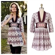"Anthropologie Twenty-Four Squares Tunic Coiling bands of dark plum embroidery pattern this airy Odd Molly tieback, as etched rose cufflinks clasp the half-sleeves.   Cotton voile  Hand wash  31""L  Portugal  Style No. 810006 Anthropologie Tops Tunics"