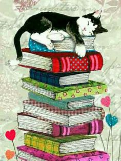 Painting cat sleeping on a pile of books. Painting cat sleeping on a pile of books. Cat Wallpaper, Animal Wallpaper, I Love Cats, Crazy Cats, Tattoo Chat, Graffiti Kunst, Art Carte, Illustration Art, Illustrations