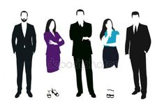 Set of business people vector silhouettes. Men and women at work Men And Women, Silhouette, Stock Photos, Business, People, Fictional Characters, Man Women, Silhouettes, Dibujo