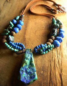 Chrysocolla Pendant Necklace Blue Green Druzy door ChrysalisToo