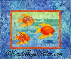 Fish Swimming About Wall Quilt  $39 Free shipping  Order here www.castillejacotton.com  #OrangeBlueFishWallQuilt