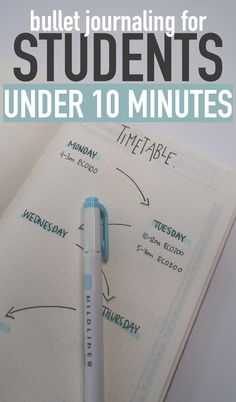 Bullet Journaling FOR STUDENTS under 10 MINUTES! Timetable, Study Log, Project Planner + Weekly Spread!