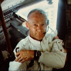 Apollo 11 astronaut Buzz Aldrin poses for a snapshot while inside the Lunar Module in this July 1969 NASA image.