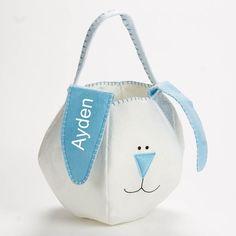 White Light Blue Floppy Ear Bunny Basket