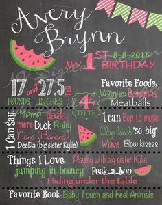 Watermelon Birthday Theme Chalkboard Chalk by NVDigitalDesigns