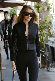 black motor jacket with tight black leggings????