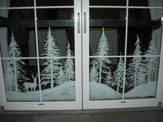 Snowy forest doors by Window-Painting on DeviantArt Christmas Window Decorations, Christmas Window Display, Christmas Art, Winter Christmas, All Things Christmas, Holiday Decor, Christmas Window Paint, Christmas Windows, Box Decorations