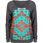 Ethnic Print Womens Oversized Sweatshirt -