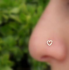 Valentine Heart Nose Ring  Stud 14K Solid Rose Gold Handcrafted Heart Shape
