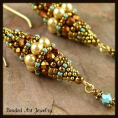 Swarovski 4mm bright gold pearls, 3mm copper iris Czech fire polish beads, gold and turquoise seed beads, heishi and a 3mm turquoise AB 2X t...