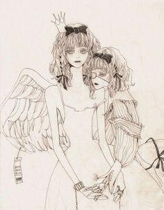 Dark Art Illustrations, Illustration Art, Creepy Cute, Horror Art, Erotic Art, Figurative Art, Japanese Art, Traditional Art, Art Inspo