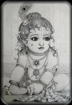 🕉 The beautiful world of Hinduism 🕉 🌷Jai Shri Radhe-Krishna 🌷 Lord Krishna Sketch, Krishna Drawing, Krishna Painting, Ganesha Sketch, Little Krishna, Cute Krishna, Krishna Art, Radhe Krishna, Hanuman