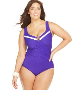 Miraclesuit Plus Size Escape Colorblocked One-Piece Swimsuit