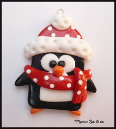 Polymer Clay Penguin in Red Pendant Charm by michellesclaybeads