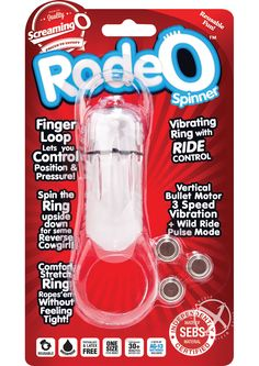 RODEO SPINNER CLEAR LOOSE - The RodeO Spinner puts you in full control with a multi-function vertical bullet and a top finger loop for perfect positioning. The bottom ring hogties his shaft and testicles without fitting tight and stretches comfortably with every movement. Whether a little to the left or a lot to the right, this powerful vibrating ring stimulates anywhere you want it and makes it easy for couples to enjoy a customized roll in the hay!  Features:  Vibrating ring with ride…