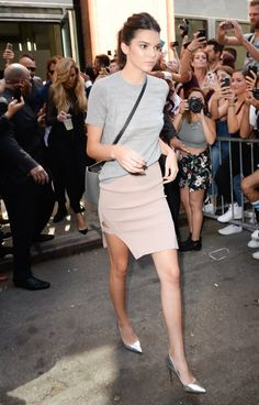 Soft and pretty: a basic gray tee tucked into a blush pencil skirt.