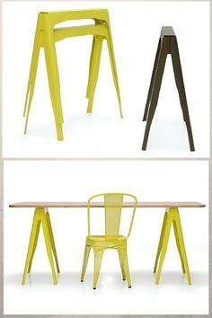 Tréteaux design industriel Tolix  http://www.homelisty.com/treteaux-design/