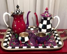 Painted Tea Set // Whimsical Painted silver Tea Set // Silver Tea Set hand painted home decor Custom Painted Silver Tea Sets - your 3 pieces whimsical tea pot Mackenzie Childs Inspired, Mckenzie And Childs, Silver Tea Set, Black Floor Lamp, Hand Painted Furniture, My Tea, Custom Paint, Tea Party, Whimsical