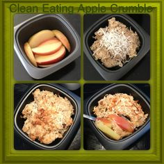 CLEAN EATING APPLE CRUMBLE 1. Slice apple and throw out core. 2. Fry in a pan on a low heat for a few minutes with a table spoon of nativia. 3. Line cups with apples (oven proof). Crumble mixture - 1/2 cup oat flour (blended oats), 1/4 cup rolled oats, 1/4 cup shredded coconut, 1 table spoon coconut oil, 1 tablespoon natural honey, water. 4. Mix and place on top of apple base. 5. Sprinkle with coconut and cook in oven for 10-15 minutes on 180 degrees.