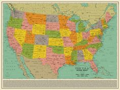 """I think you're really going to like this! This retro map of the USA is made up of over 1000 song titles! So, for example, KISS' """"Detroit Rock City"""" is placed on Detroit, Michigan… of course! John Steinbeck Quotes, Usa Songs, No Sleep Till Brooklyn, Detroit Rock City, The Cloisters, United States Map, Classic Songs, Man Vs, Us Map"""