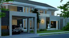 Desain Rumah Mewah 2 Lantai luas 800 M2 dengan tata letak ruang sesuai fengshui, menempati kavling hook/ pojok/ sudut, berarsitektur modern tropis minimalis