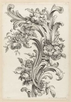 From Cooper Hewitt, Smithsonian Design Museum , Alexis Peyrotte, Floral and Acanthus Leaf Design Etching on white laid paper Tatoo Flowers, Flower Tattoos, Baroque Frame, Tattoo Schwarz, Google Art Project, Images Vintage, Vintage Artwork, Ornaments Design, Motif Floral