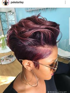 95 Purple Hair Color Highlights Lowlights For Dark Burgundy Plum Violets Colors hair color shades, Short Pixie, Short Hair Cuts, Short Cut Wigs, Pixie Cuts, Curly Hair Styles, Natural Hair Styles, Sassy Hair, My Hairstyle, Relaxed Hair