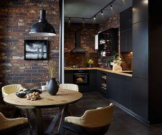 Cette cuisine avec coin repas dans un loft est celle de nos rêves - PLANETE DECO a homes world Home Decor Kitchen, Kitchen Design, Loft Interior, Cocina Diy, Vibeke Design, Appartement Design, Hardwood Floors, Flooring, Sweet Home