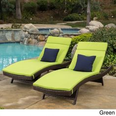 Chaise Lounge Chair Cushion Mattress Set 2 Outdoor Waterproof Patio Pool  Green