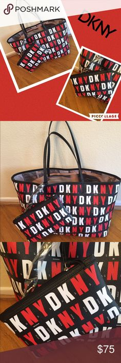 CLEAROUT  DKNY  TOTE signature Tote bag NWT ❤️ ❤️DKNY signature tote bag 19.5x11 and make up/ change purse 8x6 ❤️ DKNY Bags Totes