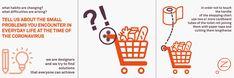 Marcello Ziliani hat mit seinem Team hilfreiche Tipps und Tricks entwickelt, die in Zeiten der Isolation und Hyper-Hygiene, von jedem/jeder leicht umgesetzt werden können. Dazu haben die Designer*innen Grafiken gestaltet, die auf witzige Art klarmachen, wie sich die neuen Verhaltensregeln leichter und besser einhalten lassen, um einer Covid19-Infektion zu entgehen. Klopapier-Kartonrollen auf der Griffstange des Einkaufswagens schützen vor Infektionen. © Marcello Ziliani Cardboard Tubes, Paper Tape, Sketchbooks, Designer, Chart, Corona, Paper, Code Of Conduct, Helpful Tips