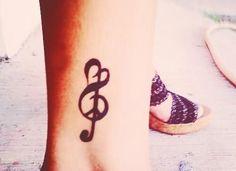 Peace And Love Music Tattoo On Leg