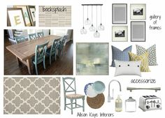 a neutral & contemporary kitchen/dining e-design in shades of blue and gray. CB2 island pendant lighting/farmhouse table/Crate and Barrel accessories