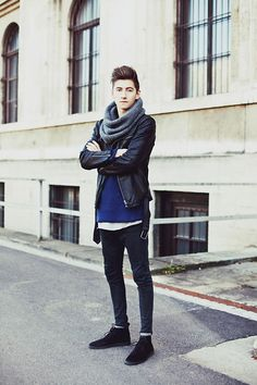Weekday Leather Jacket, Cos Circled Scarf, Cos Sweater, Revolution T Shirt, Acne Jeans, H&M Shoes