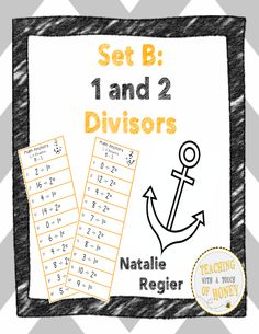 Division Anchors Set B: 1 and 2 Divisors - Develop math fluency with math anchors! Use these math anchors to create an anchor booklet for students to complete when they finish their regular class work, when you have a few minutes of down time in your classroom, or when you need to work with individual or small groups of students. #teachersherpa