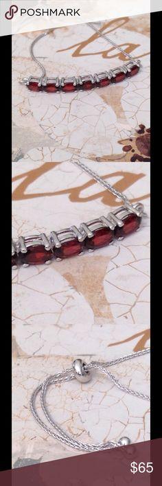 Garnet Bar Bracelet, Adjustable Garnet Bar Bracelet, Adjustable  This bracelet features 7 gems with a slider ball to adjust to OSFM. Done in Platinum Over .925 Sterling Silver Nickel Free. TGW 3.60 CTs. Jewelry Bracelets