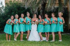 Aqua bridesmaids