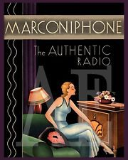 VP-425 VINTAGE POSTER ART ~ 8x10 PRINT ~ Art Deco Marconiphone Authentic Radio