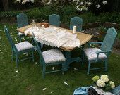 Wildgust & Graves Hand painted extending dining table and six upholstered chairs