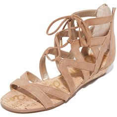 Sam Edelman Dawson Wedge Sandals (136 AUD) ❤ liked on Polyvore featuring shoes, sandals, golden caramel, wedge shoes, lace-up sandals, low wedge shoes, wedge sandals and leather shoes