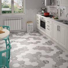 Harmony B&W, Hexatile Blanco, Gris Mate : Cocinas de Equipe Ceramicas