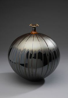 "Hideaki Miyamura Vase, black and gold glaze, Porcelain, 12 x 9.5 x 9.5"""