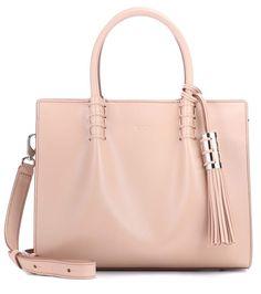 Mini Shopping beige leather shoulder bag