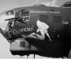 """Nose Art Queenie """"Amazing and complex paintings covered the noses of these war machines. Ww2 Aircraft, Military Aircraft, Rockabilly, Aircraft Painting, Airplane Art, Military Art, Military History, Nose Art, Aviation Art"""